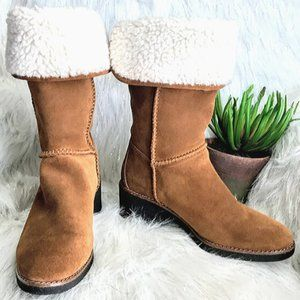 Coach Brown Suede Shearling Fold Down Boots 6.5
